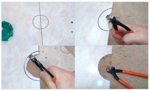Как вырезать в плитке отверстие под трубу?