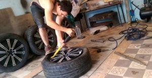 Монтаж шины на диск своими руками