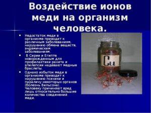 Как медь влияет на организм человека